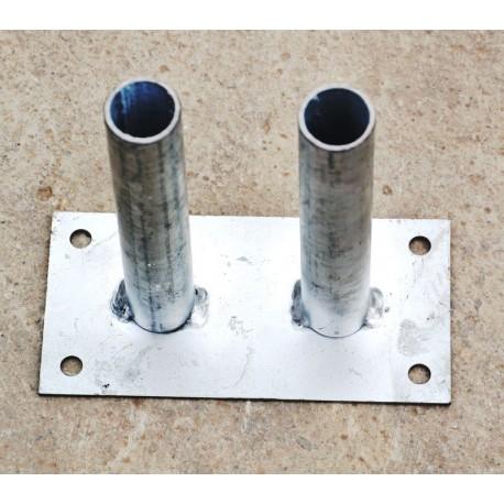 Platine à 2 tubes 120/240 pour poteaux